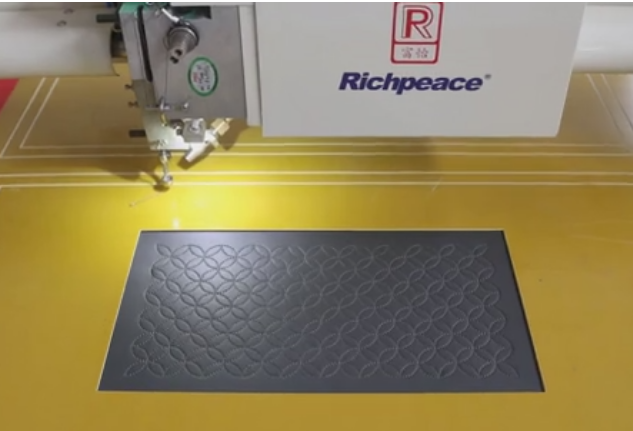 Auto sewing machine - demo of aerospace seat sewing