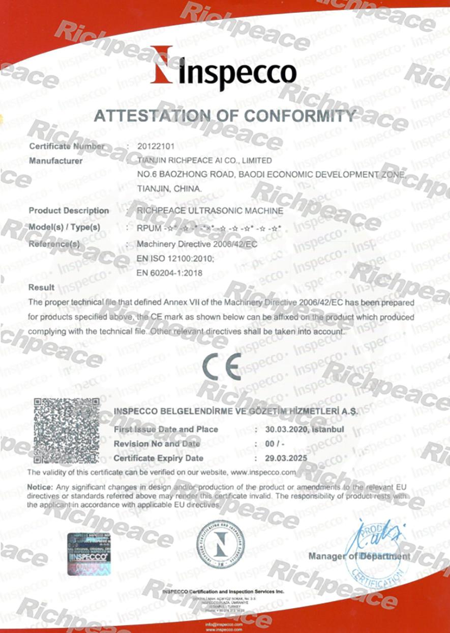 Richpeace Ultrasonic Machine CE Certifiacte
