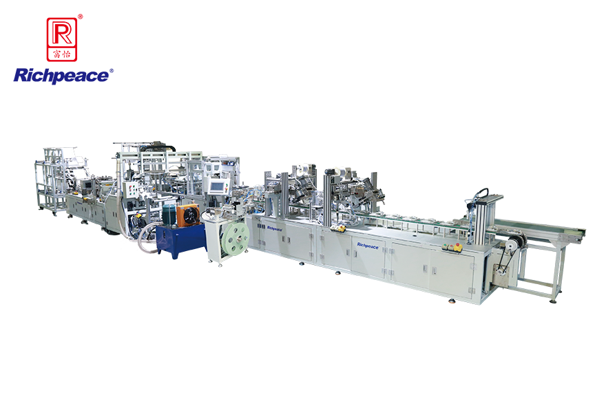 Richpeace Automatic Cup Mask Production Line(Pre-forming System + Headband Stapling + NoseSponge Strip)