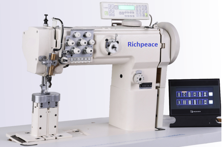 Richpeace Program control,post bed,double needle,rotary needle bar,compound feed sewing machine
