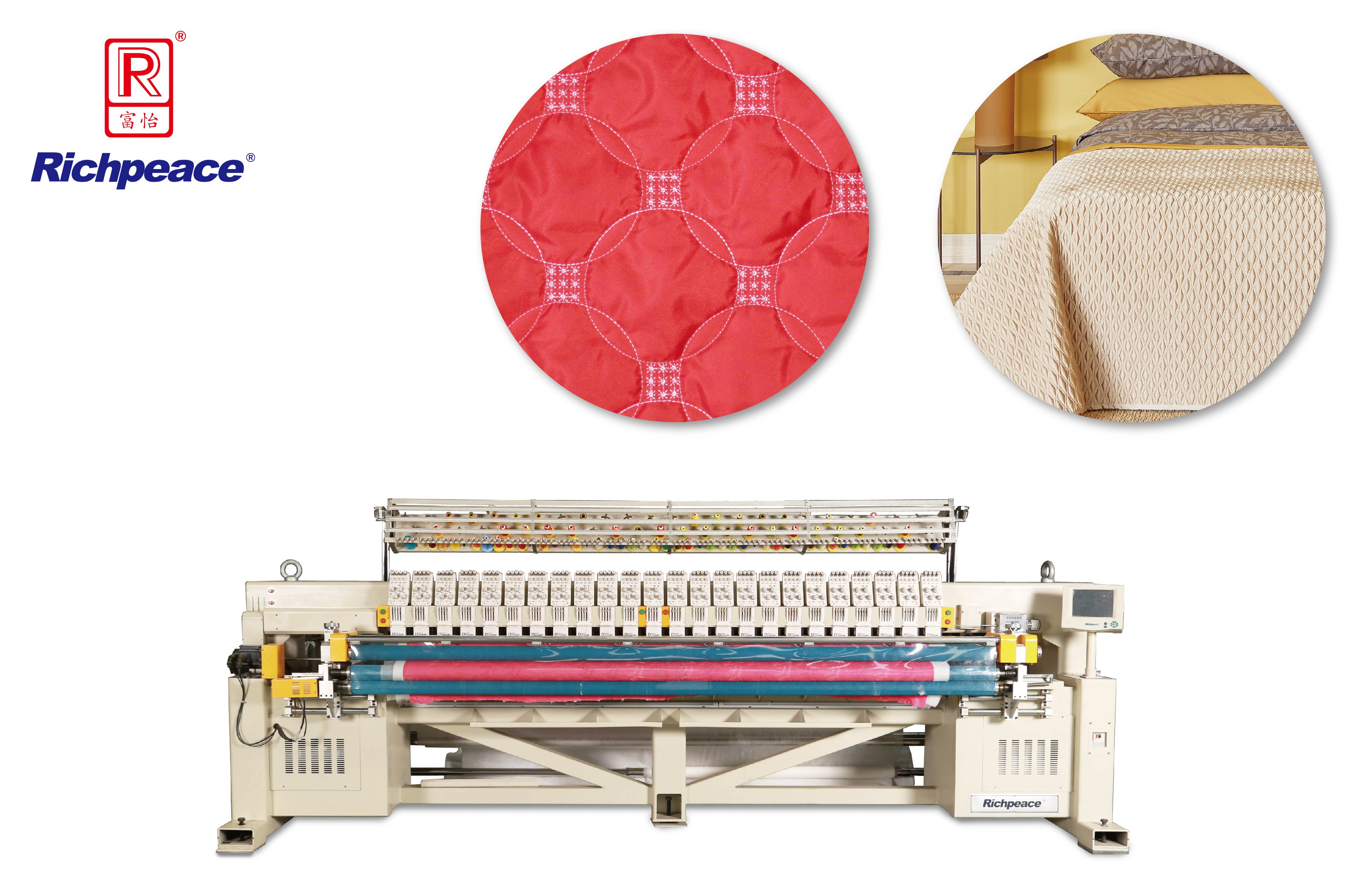 Richpeace Computerized Multi-color Single Roll Quilting and Embroidery Machine