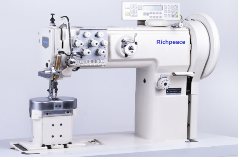 Richpeace Extra large hook,post bed,double needle compound feed sewing machine
